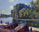 cabins along the loing canal sunlight effect by alfred sisley Painting
