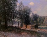 alfred sisley cabins by the river loing morning painting