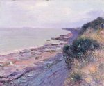 alfred sisley cliffs at penarth evening low tide poster