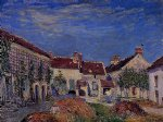 courtyard at les sablons by alfred sisley prints