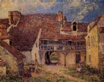 courtyard of a farm at saint by alfred sisley prints