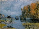 laundry houses at bougival by alfred sisley oil paintings