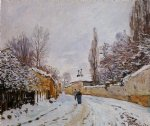 road under snow louveciennes by alfred sisley oil paintings