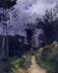 rural guardsman in the fountainbleau forest by alfred sisley oil paintings