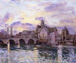 alfred sisley the bridge at moret at sunset posters