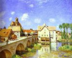 the bridge at moret by alfred sisley Painting