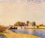 alfred sisley the dam on the loing painting