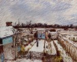 alfred sisley the garden under the snow painting