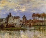 alfred sisley the moret bridge at sunset painting