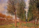 alfred sisley the poplar avenue at moret cloudy day morning posters