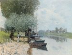 the seine at bougival by alfred sisley painting
