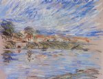 alfred sisley view of a village by a river painting