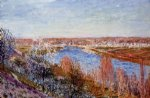 alfred sisley village of champagne at sunset posters