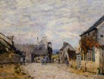 village street by alfred sisley painting