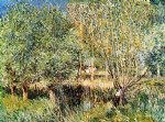 alfred sisley willows on the banks of the orvanne painting