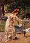 afternoon in the park by alfred stevens painting