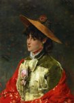 woman in a straw hat by alfred stevens painting