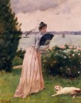woman with a fan by alfred stevens painting