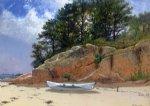 beach oil paintings - dory on dana s beach manchester by alfred thompson bricher