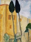 amedeo modigliani cypress trees and houses midday landscape art