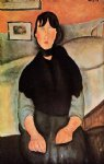 amedeo modigliani dark young woman seated by a bed painting