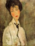 amedeo modigliani portrait of a woman in a black tie painting
