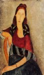 portrait paintings - portrait of jeanne hebuterne ii by amedeo modigliani