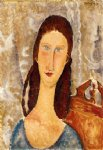 portrait paintings - portrait of jeanne hebuterne iii by amedeo modigliani
