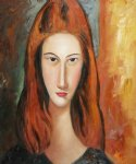 portrait paintings - portrait of jeanne hebuterne v by amedeo modigliani