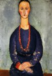 woman in a red necklace by amedeo modigliani painting
