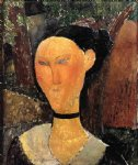 woman with velvet ribbon by amedeo modigliani painting