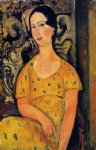young woman in a yellow dress by amedeo modigliani painting