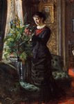 anders zorn portrait of fru lisen samson nee hirsch arranging flowers at a window painting