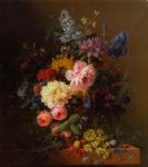 arnoldus bloemers peonies roses irises lilies lilac and other flowers in a vase on a ledge laden with fruit painting 36758