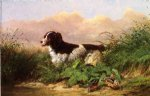 setter and woodcock by arthur fitzwilliam tait painting