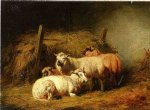 sheep in shed by arthur fitzwilliam tait painting