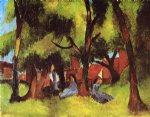 august macke children under trees in sun painting