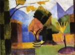 august macke garden on lake of thun painting
