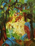 august macke girls bathing with town in background painting