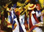 august macke girls under trees painting