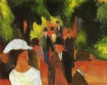 august macke promenade with half length of girl in white painting