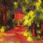 august macke red house in a park painting