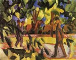 august macke riders and strollers in the avenue painting