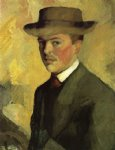 self portrait with hat by august macke oil paintings