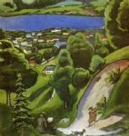 august macke tegernsee landscape with man reading and dog painting