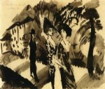 august macke two women and an man on an avenue print