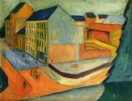 unsere strasse mit reitbahn bonn by august macke paintings-36668