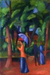 walking in the park by august macke paintings-36671