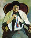 woman embroidering in an armchair portrait of the artist s wife by august macke painting