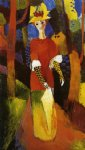 woman in park by august macke painting